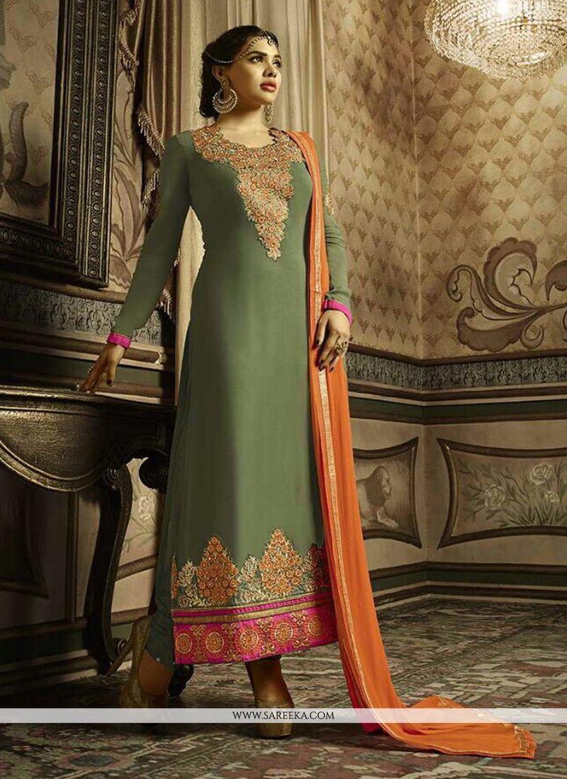Embroidered Work Green Georgette Churidar Salwar Kameez