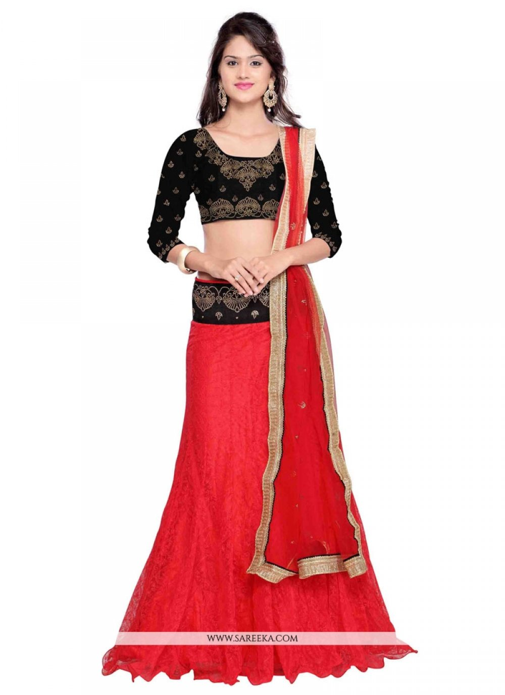 Embroidered Work Red A Line Lehenga Choli
