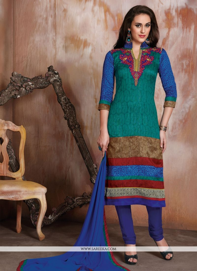 Multi Colour Churidar Designer Suit