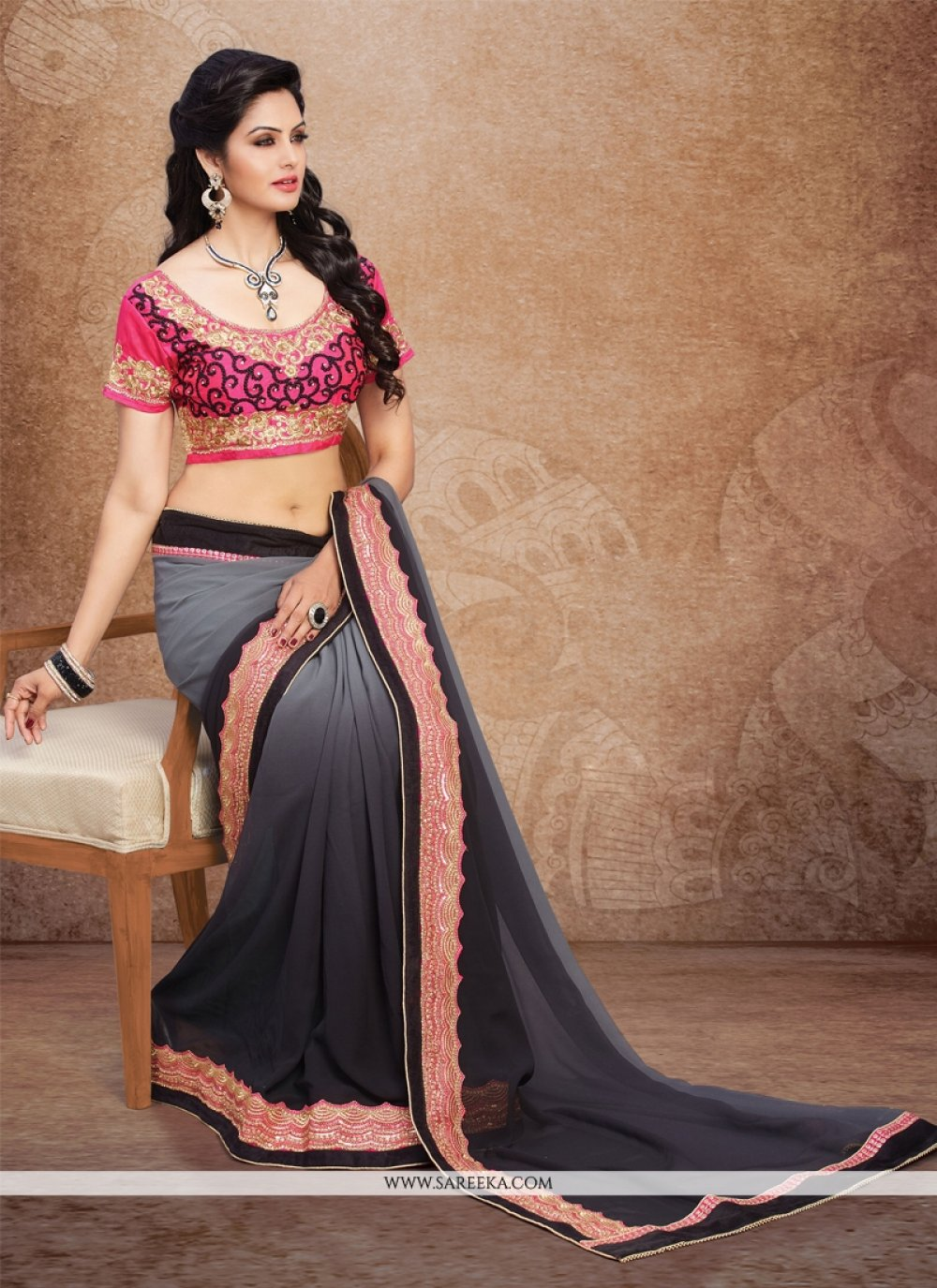 Patch Border Work Designer Saree