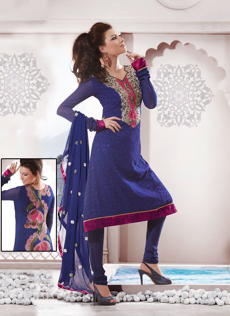 Magnetizing Blue Georgette Churidar Suit