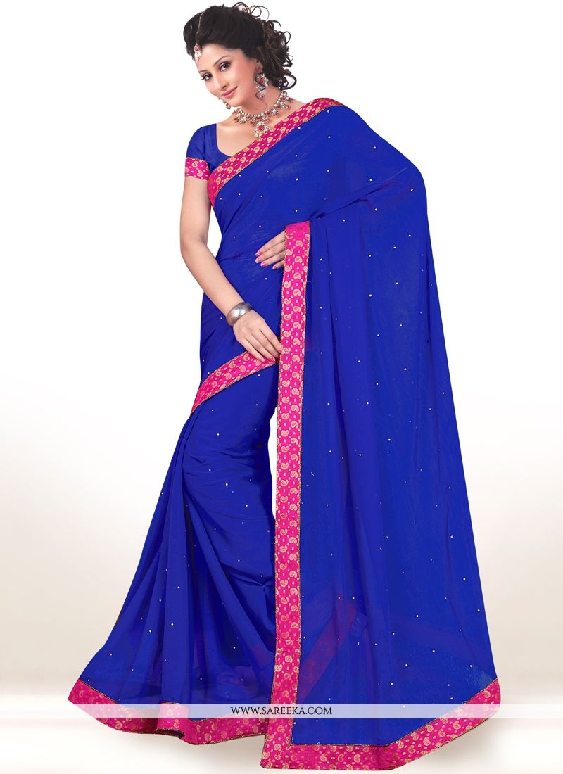 Blue Lace Work Faux Chiffon Casual Saree
