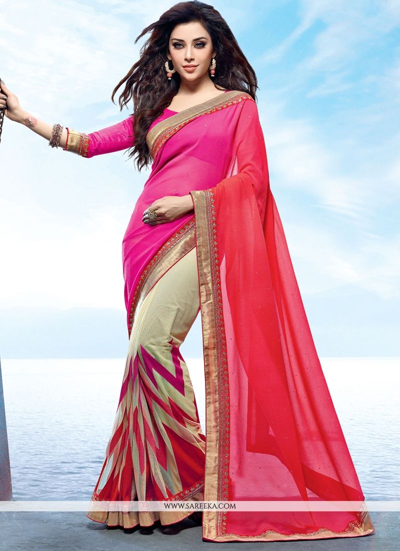 Georgette Lace Work Half N Half  Saree
