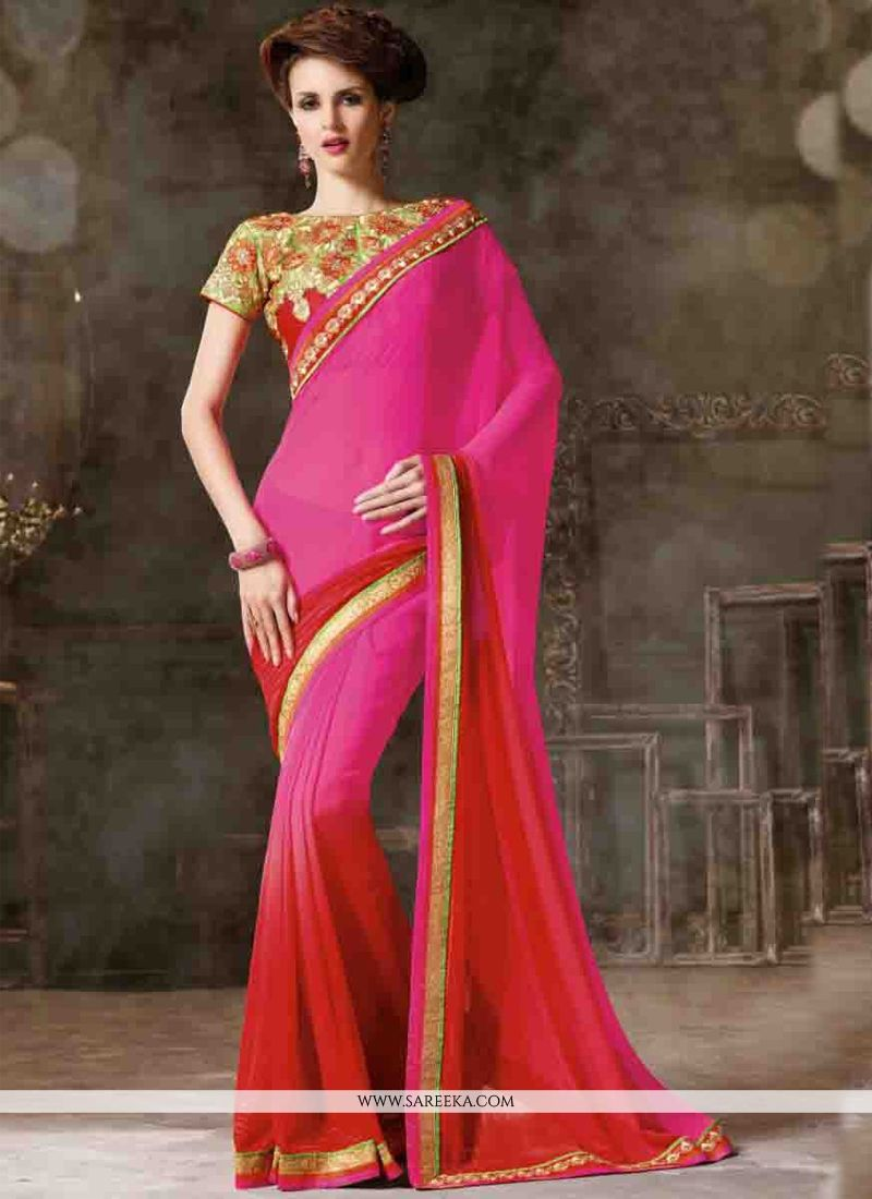 Lace Work Hot Pink and Red Designer Saree