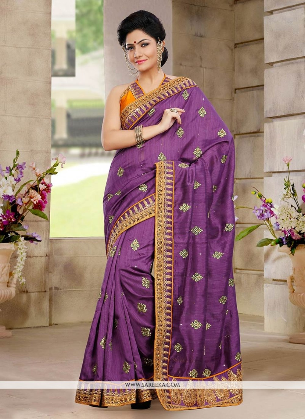 Lavender Bhagalpuri Silk Saree