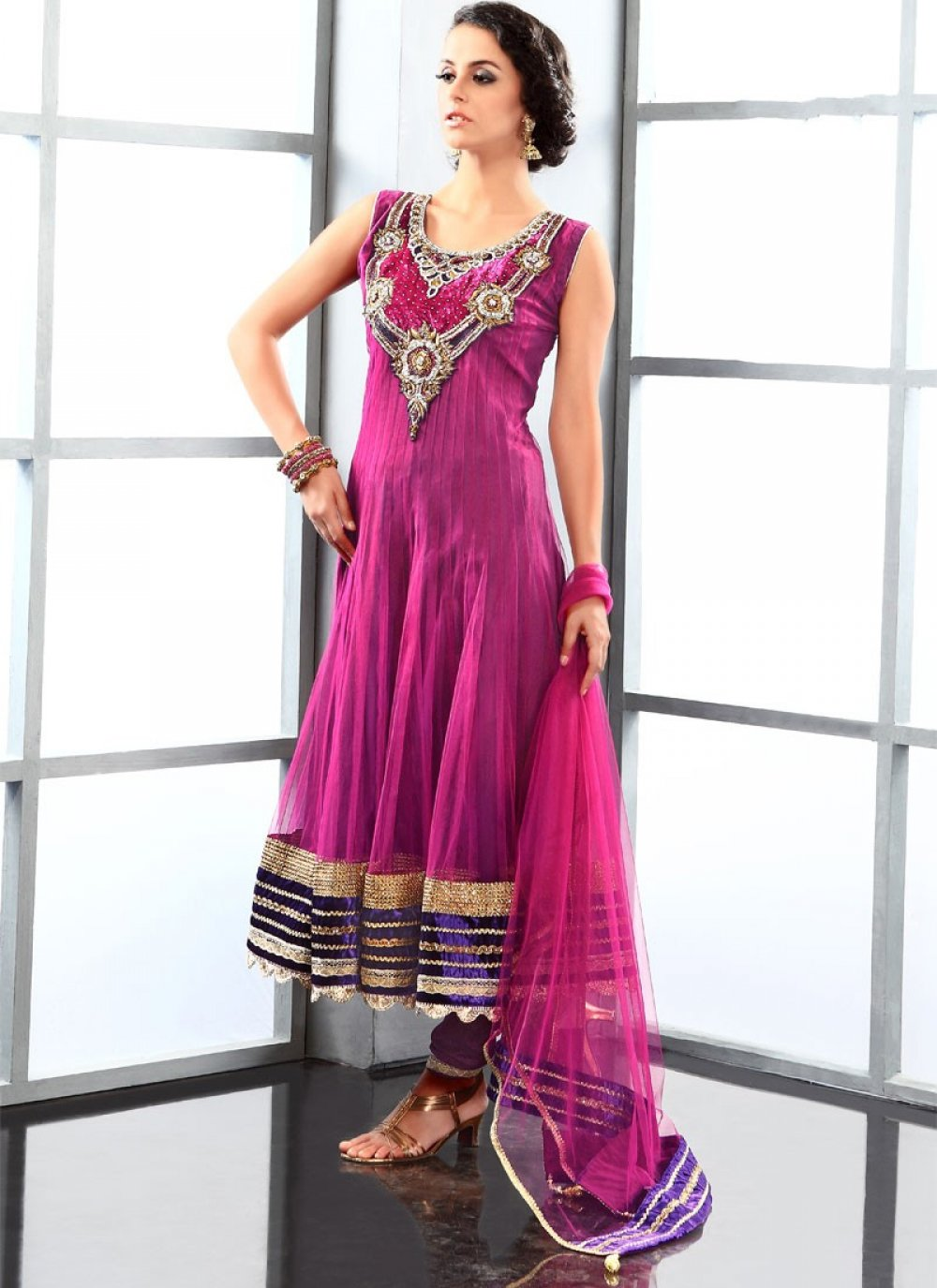 Magenta Net Anarkali Suit