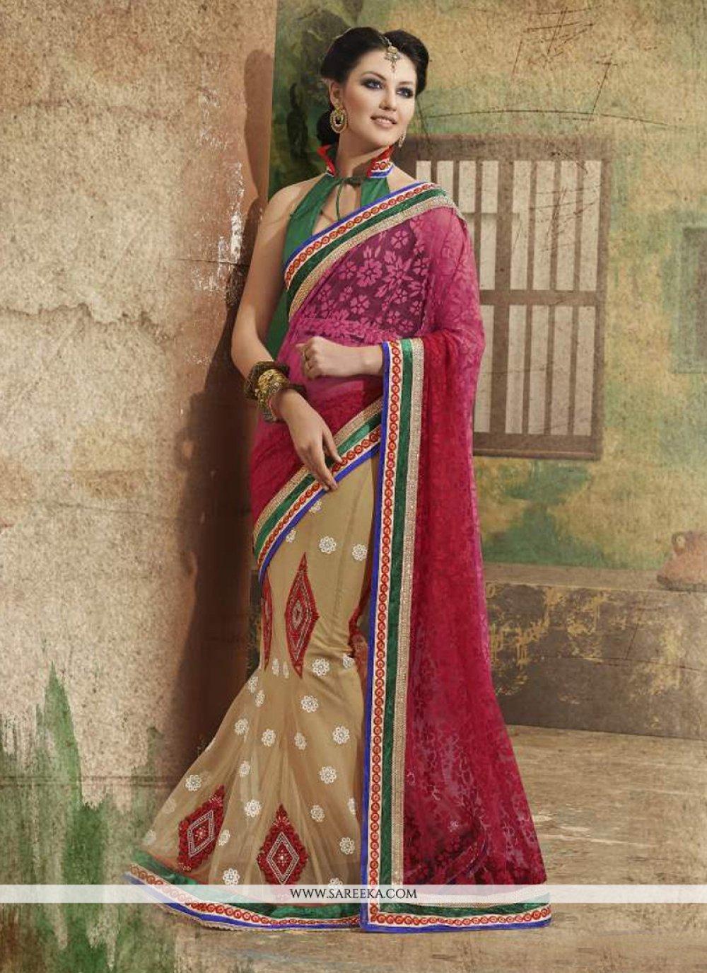 Net Multi Colour Lehenga Saree