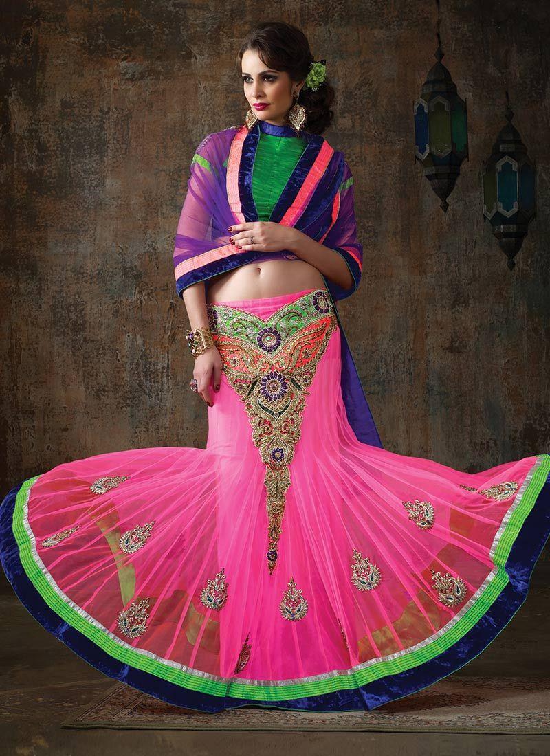Pink Net Resham Lehenga Choli
