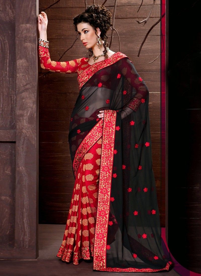 Red And Black Faux Georgette Stylist Half And Half Saree