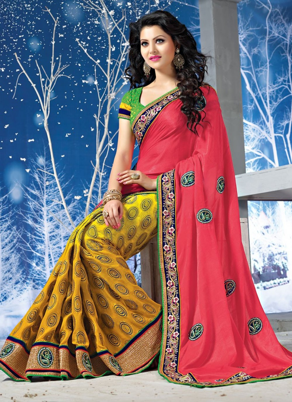 Red And Yellow Embroidery Work Pure Silk Saree
