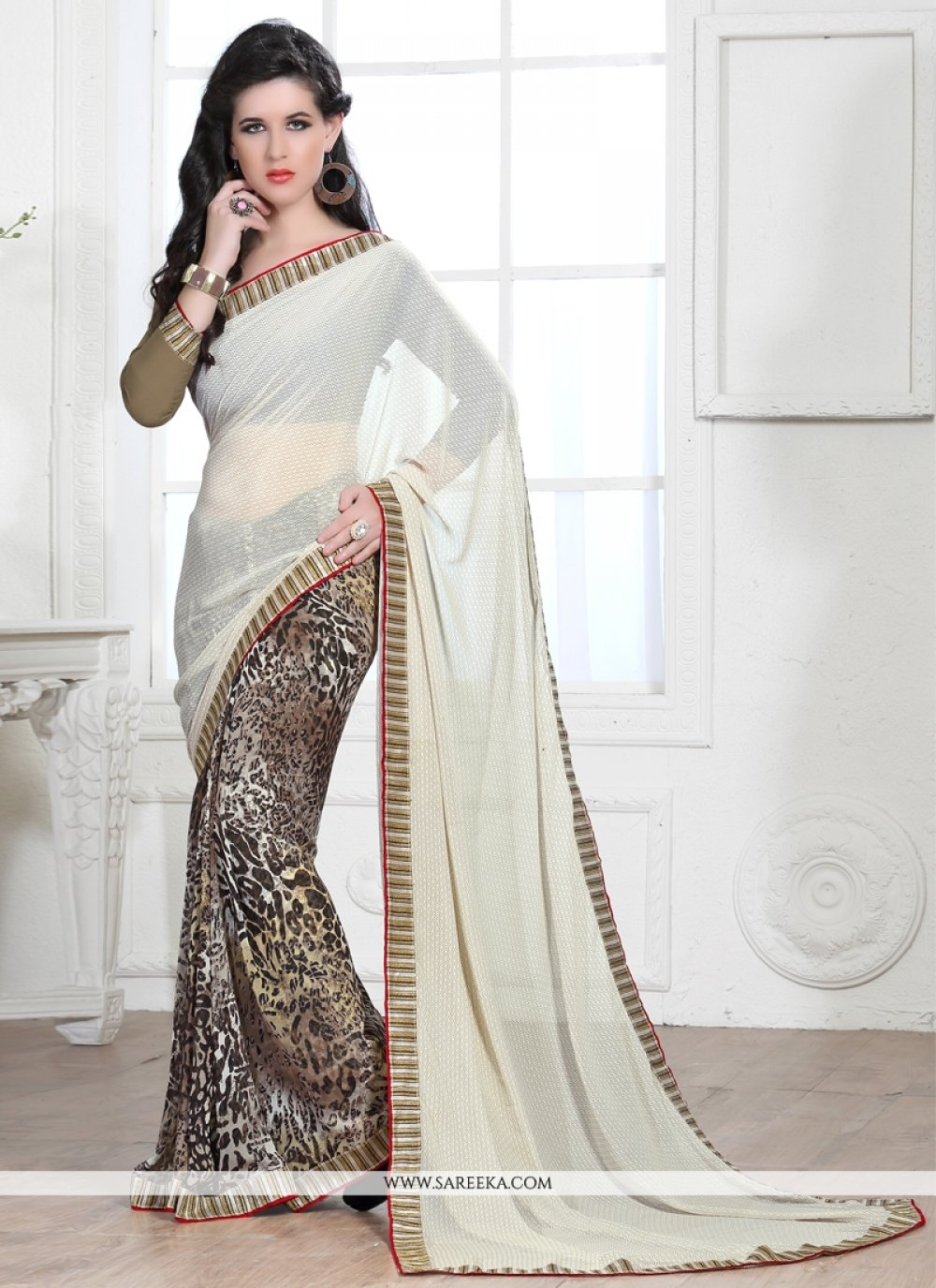 White Lace Work Georgette Casual Saree