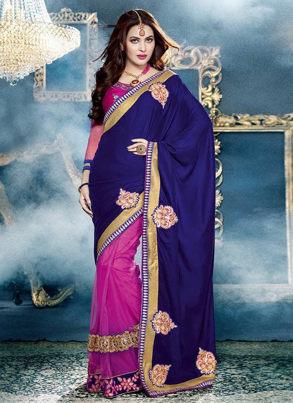 Magnificiant Blue And Pink Velvet Embroidered Saree