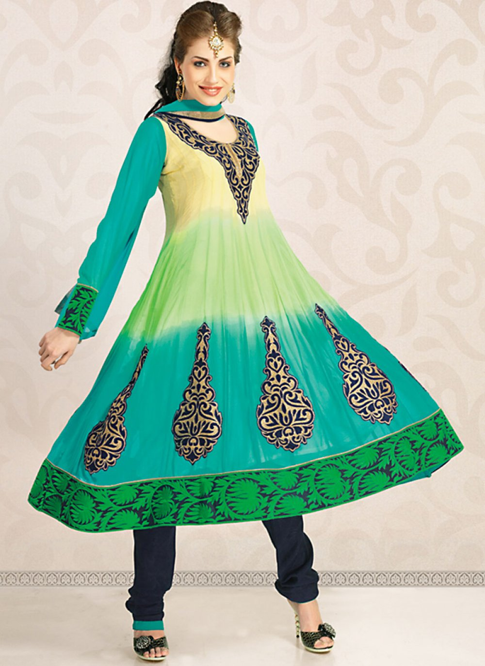 Magnificient Aloe Vera Green, Bige Brown & Tal Blue Salwar Kameez