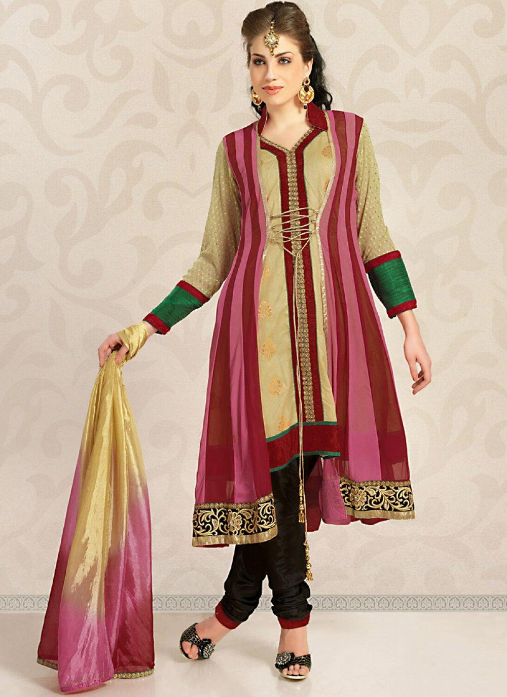Magnificient Bige Brown & Deep Pink Salwar Kameez