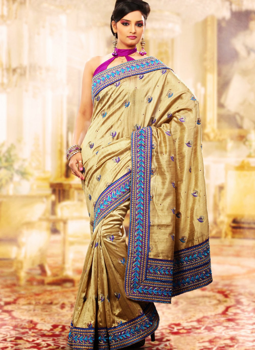 Magnificient Bige Brown Embroidered Saree