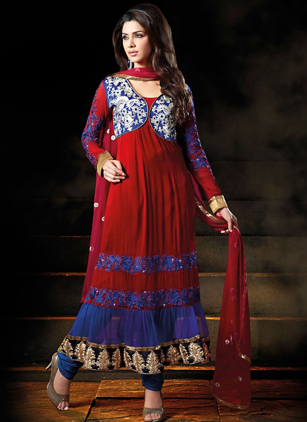Magnificient Crimson & Pale Blue Salwar Kameez