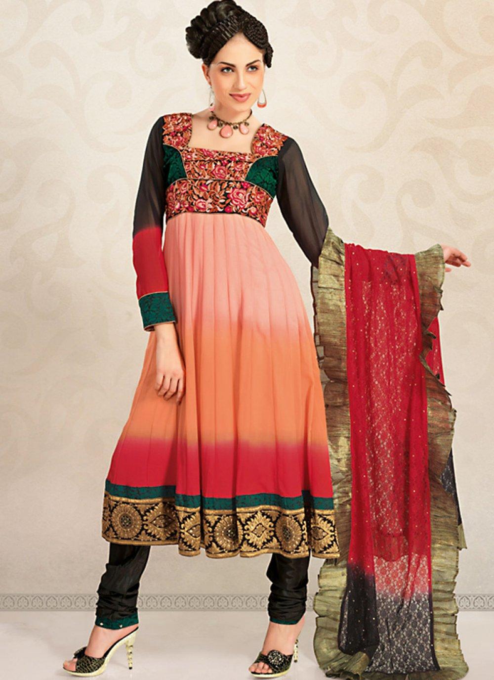 Magnificient Deep Orange & Fuchsia Salwar Kameez