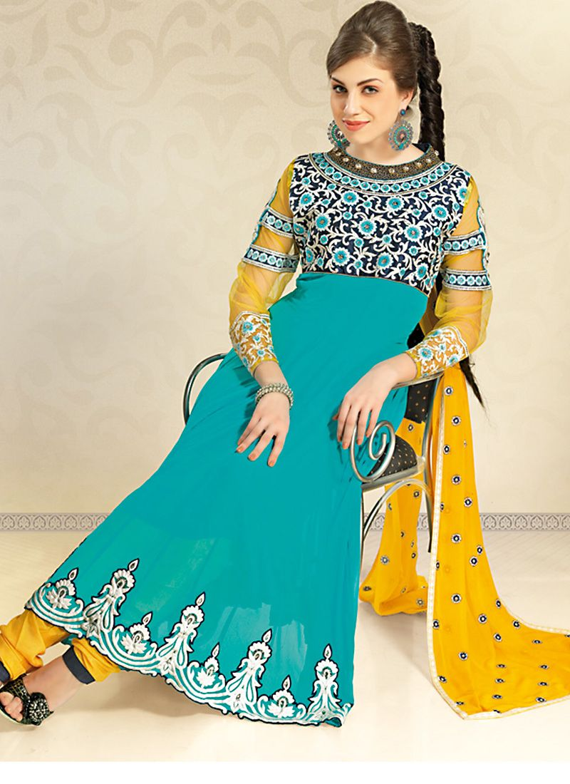 Magnificient Tal Blue Salwar Kameez