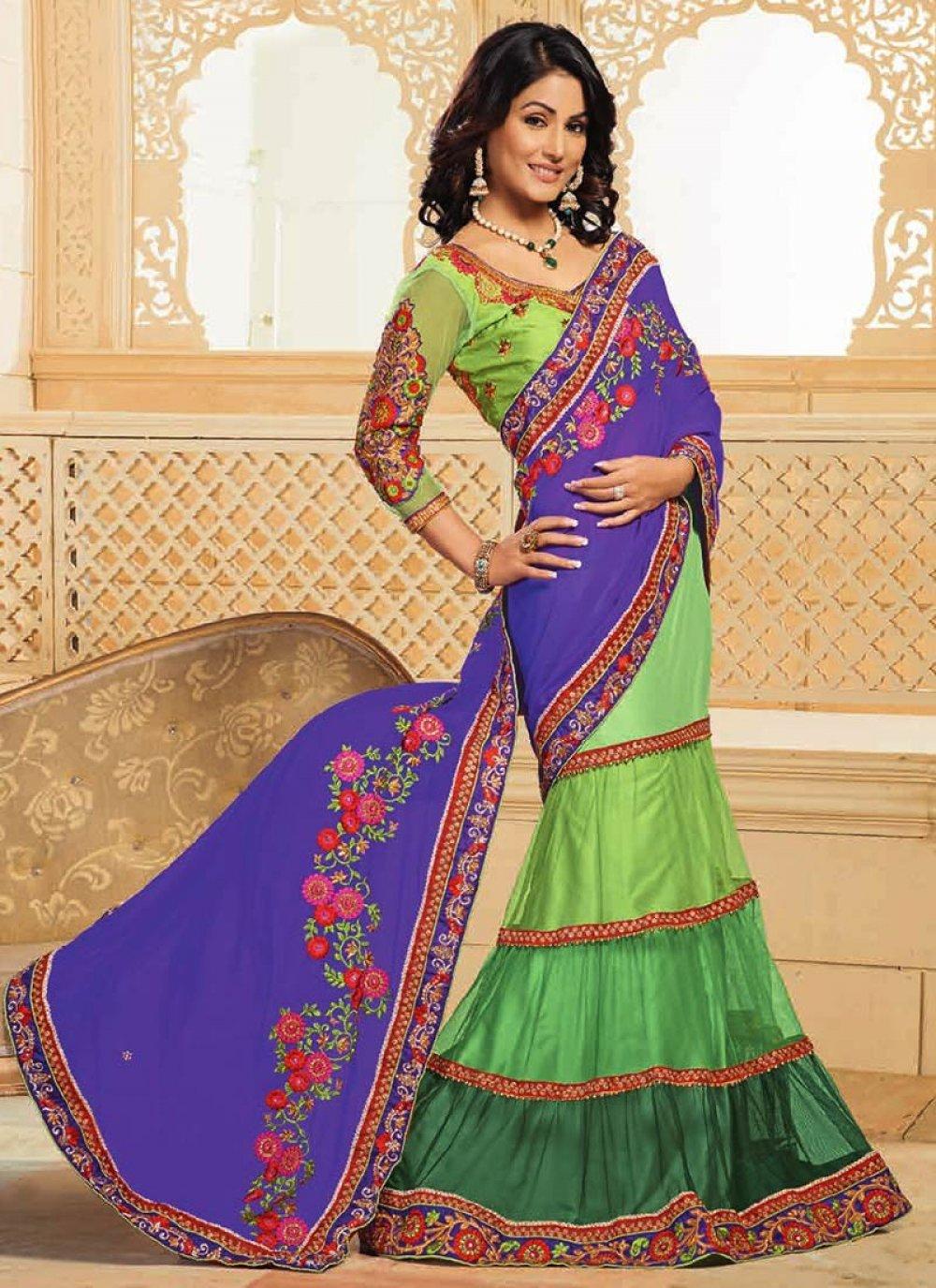 Akshara Green And Purple Lehenga Saree