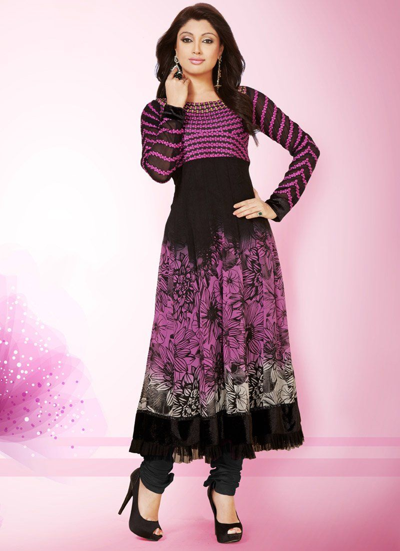Black Printed Georgette Anarkali Suit