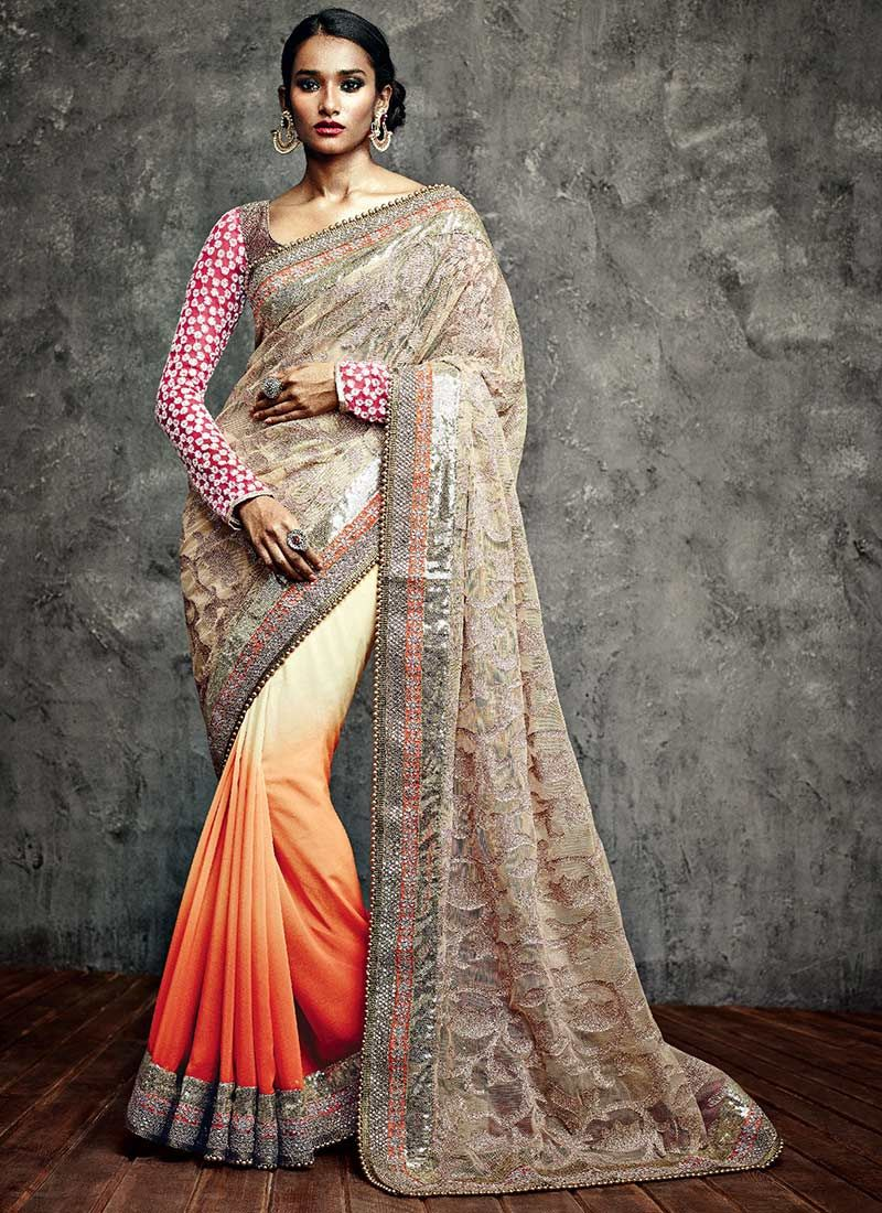 Cream Beads Georgette IIFA Enahnced Border Saree