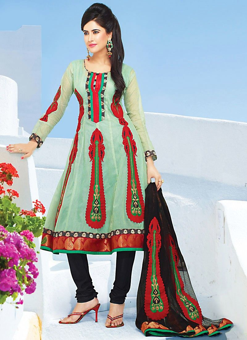 Green Silk Cotton Churidar Suit