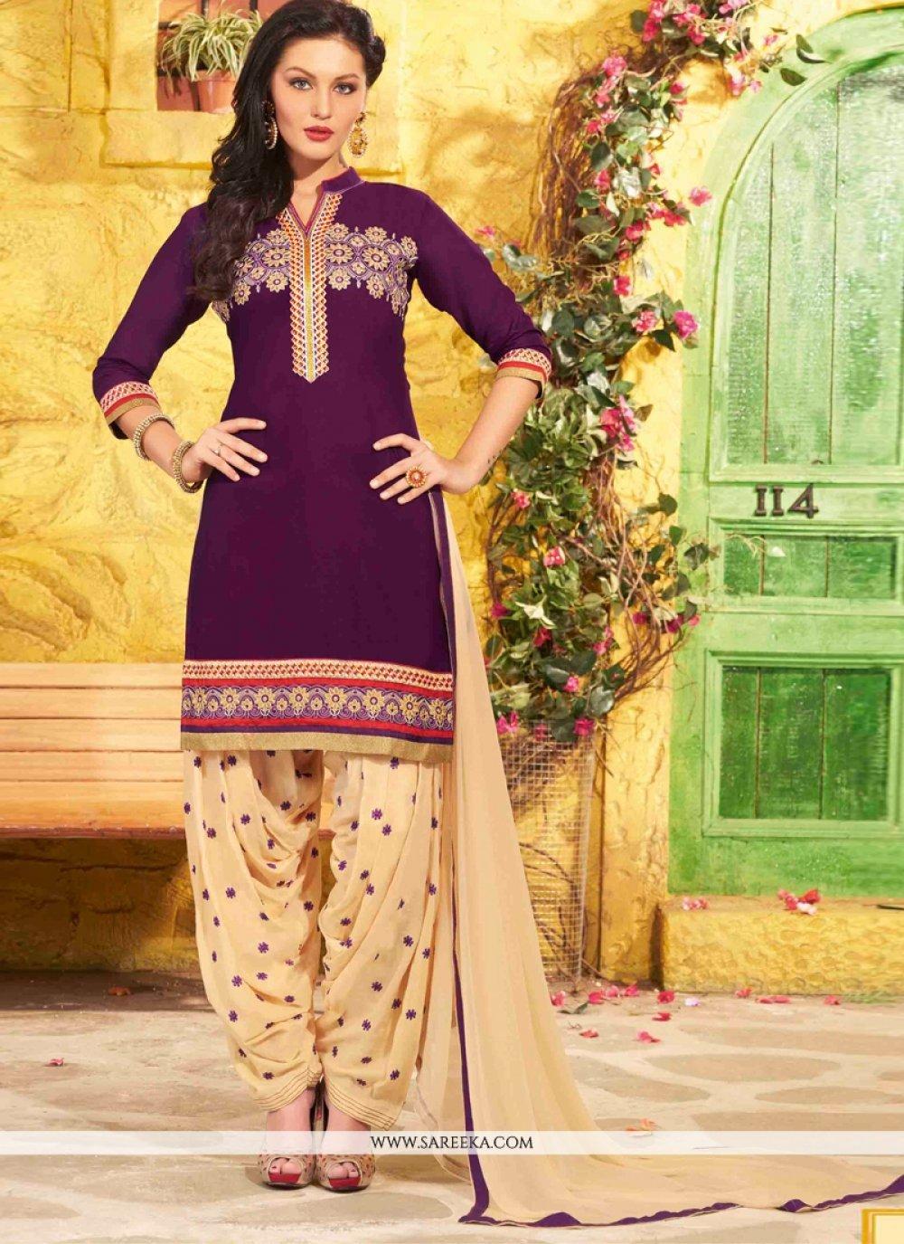 Lace Work Violet Cotton   Designer Patiala Salwar Kameez