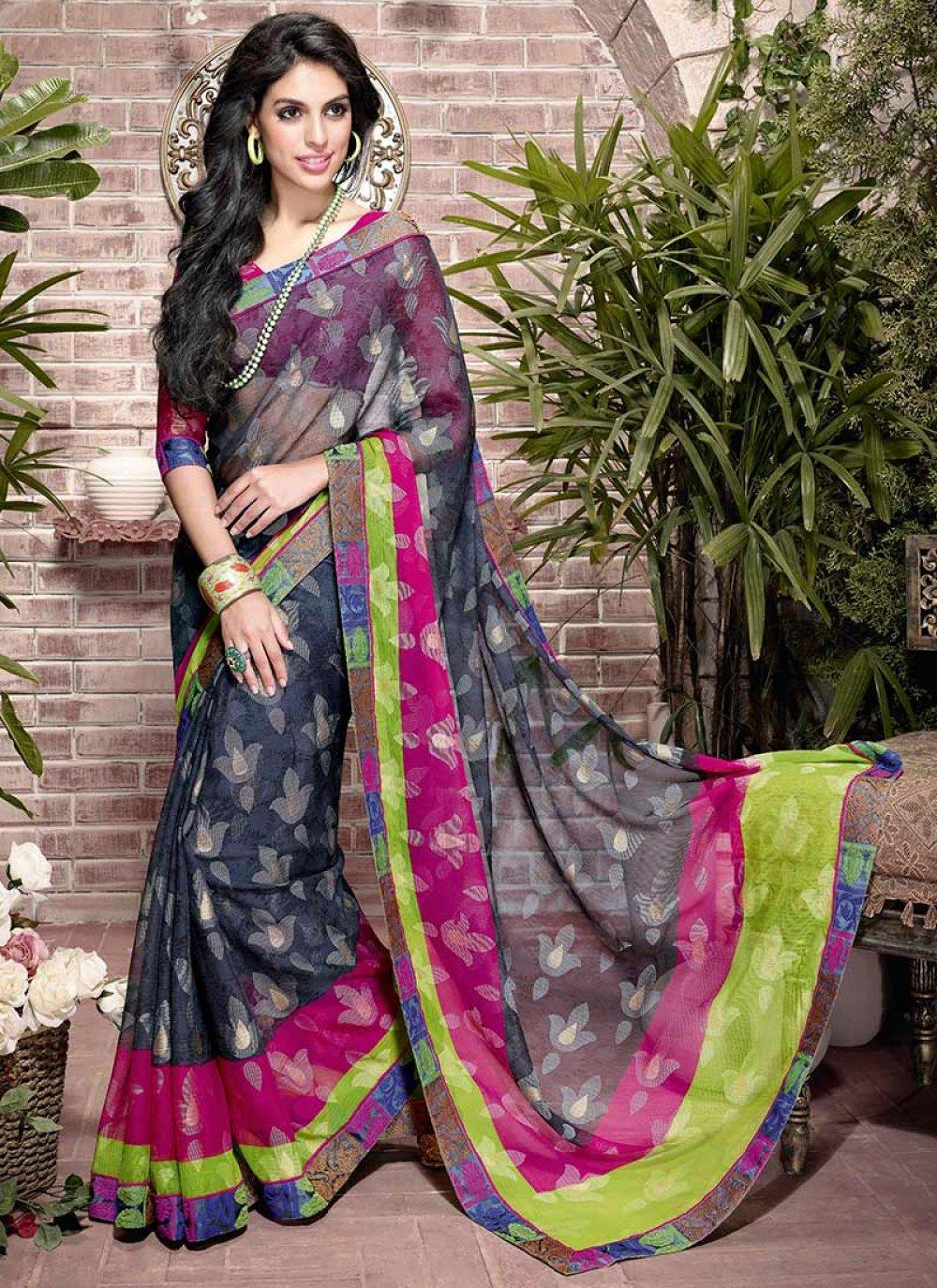 Multicolor Patch Border Art Silk Saree