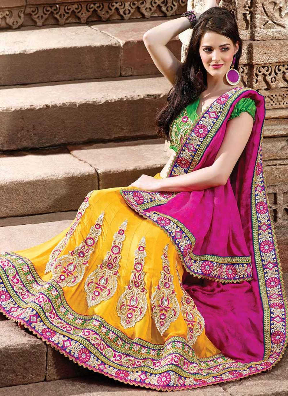 Pink And Yellow Lehenga Saree