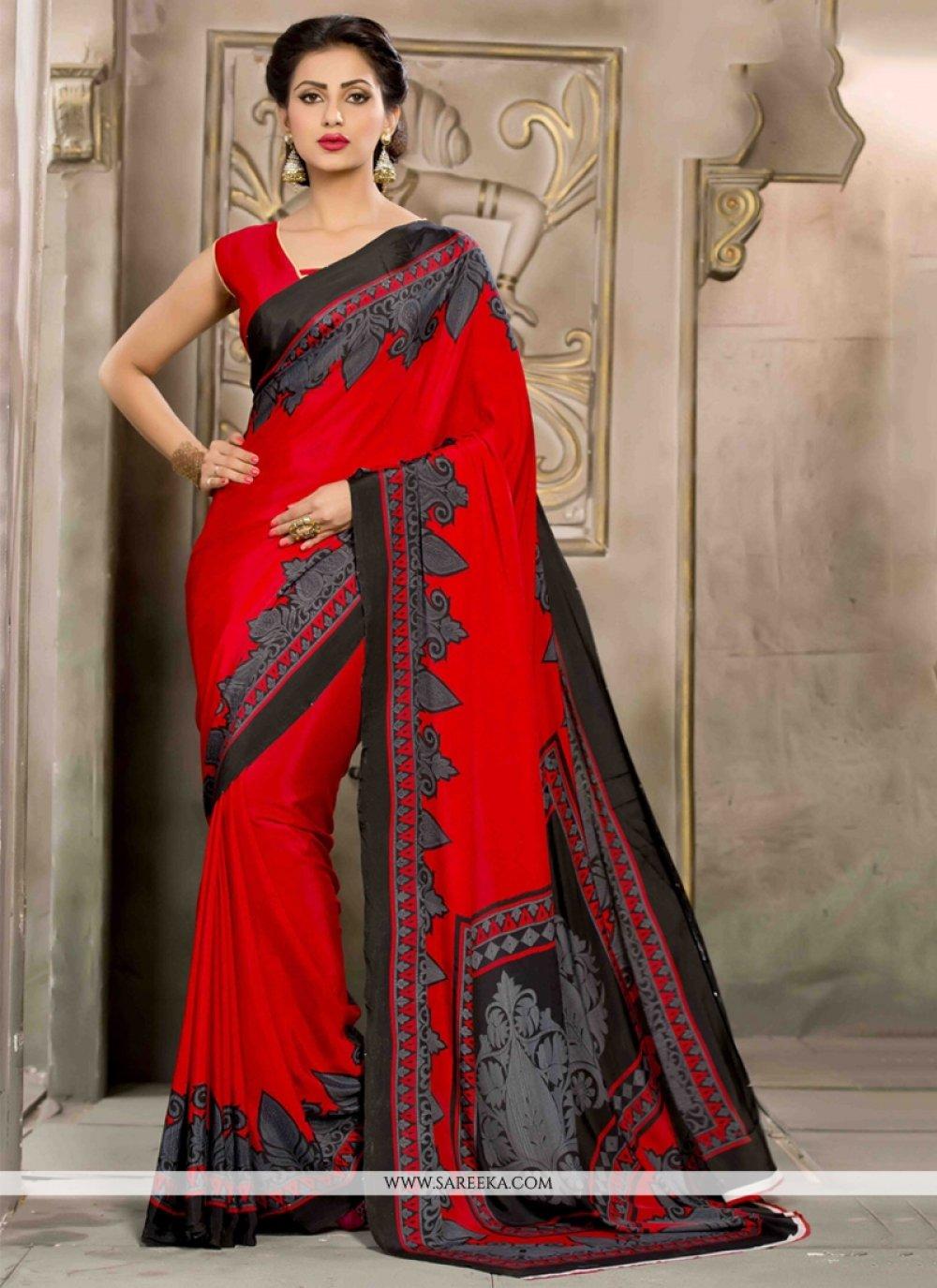 Print Work Red Casual Saree