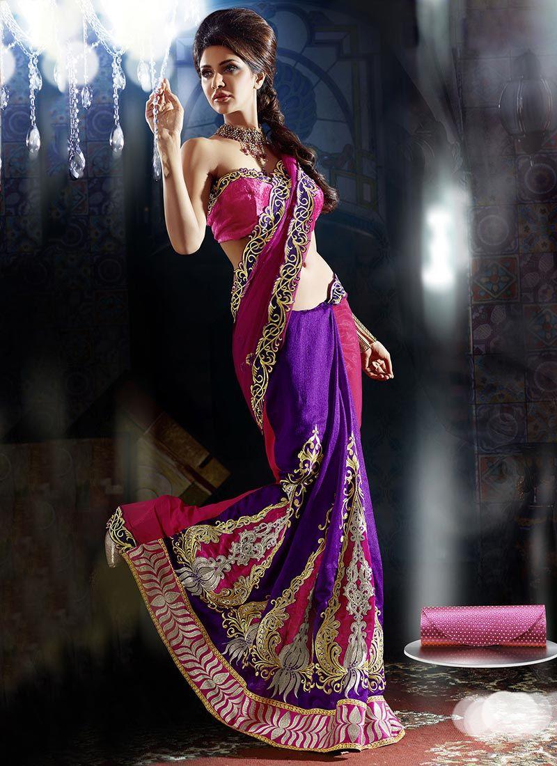 Purple And Rani Pink Lehenga Saree