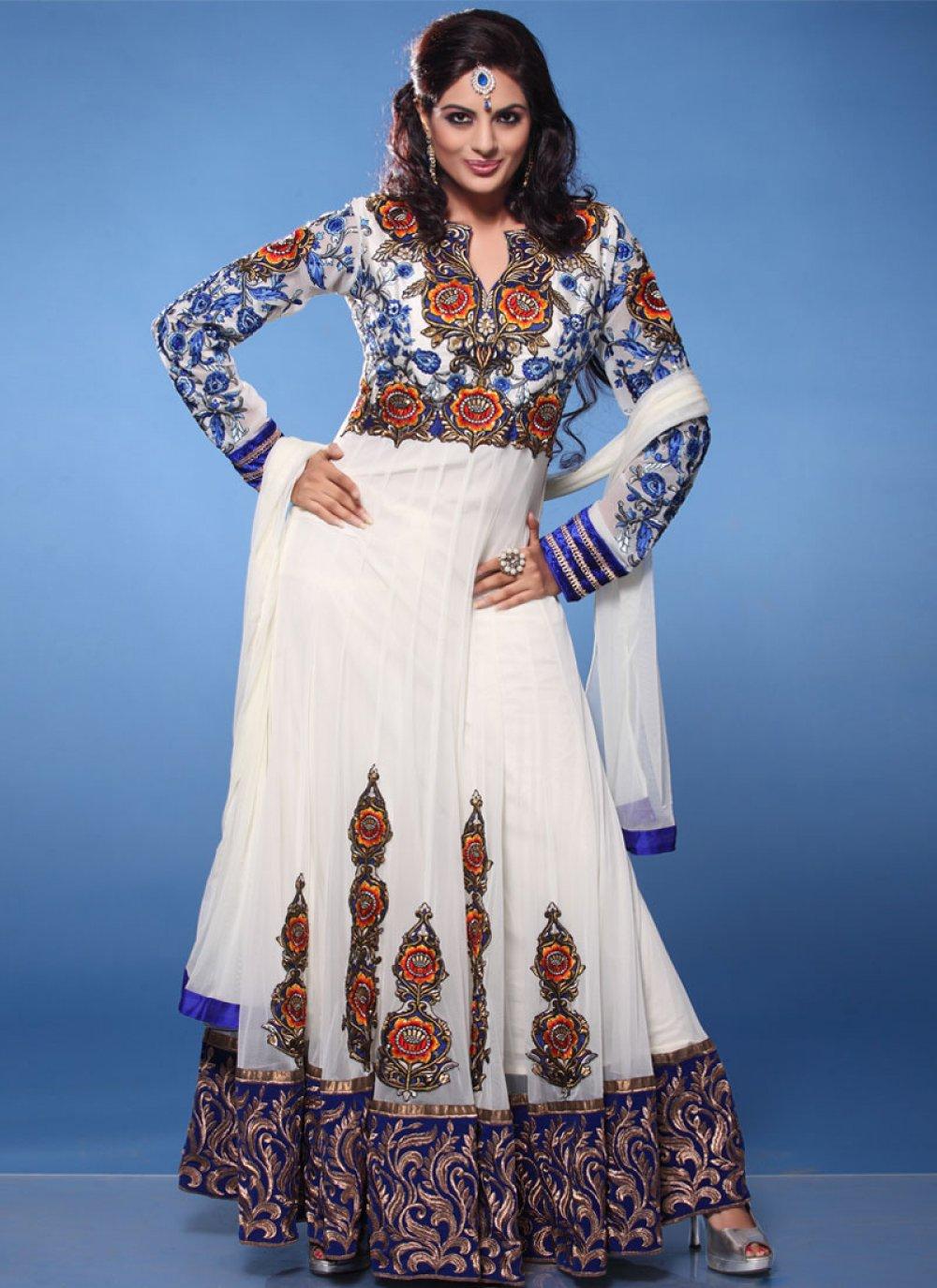 White Booti Work Net Anarkali Suit