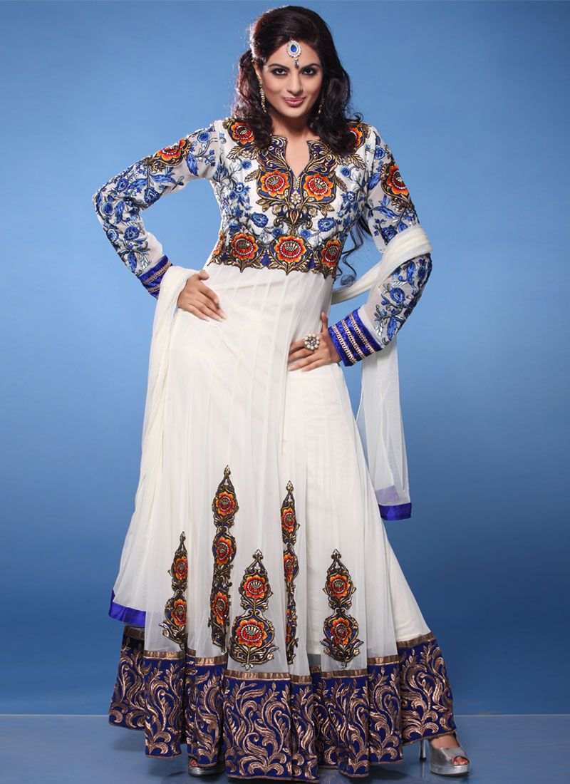 White Booti Work Net Anarkali Suit