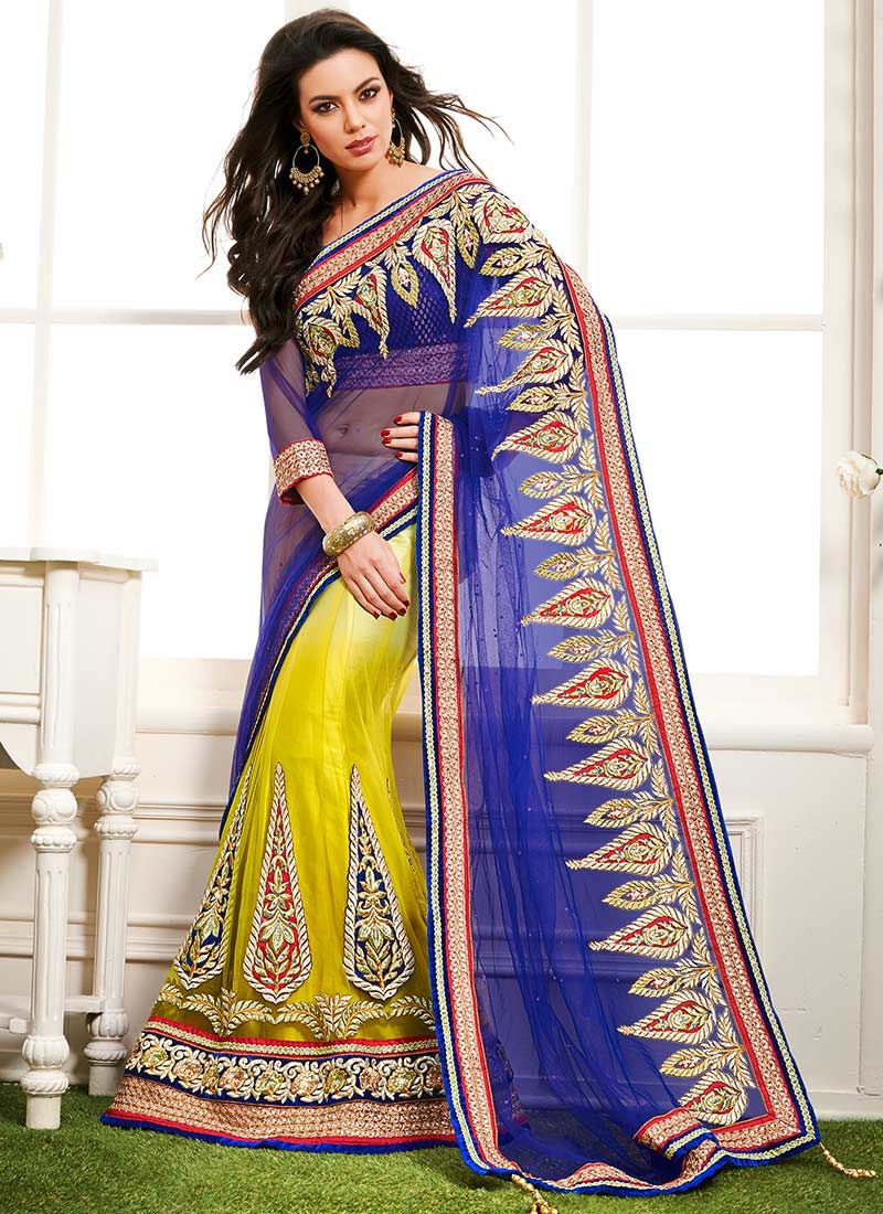 Yellow Embroidered Half And Half Saree