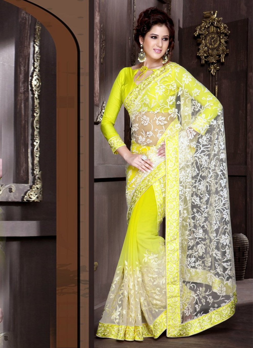 Yellow Floral Patch Work Half And Half Saree