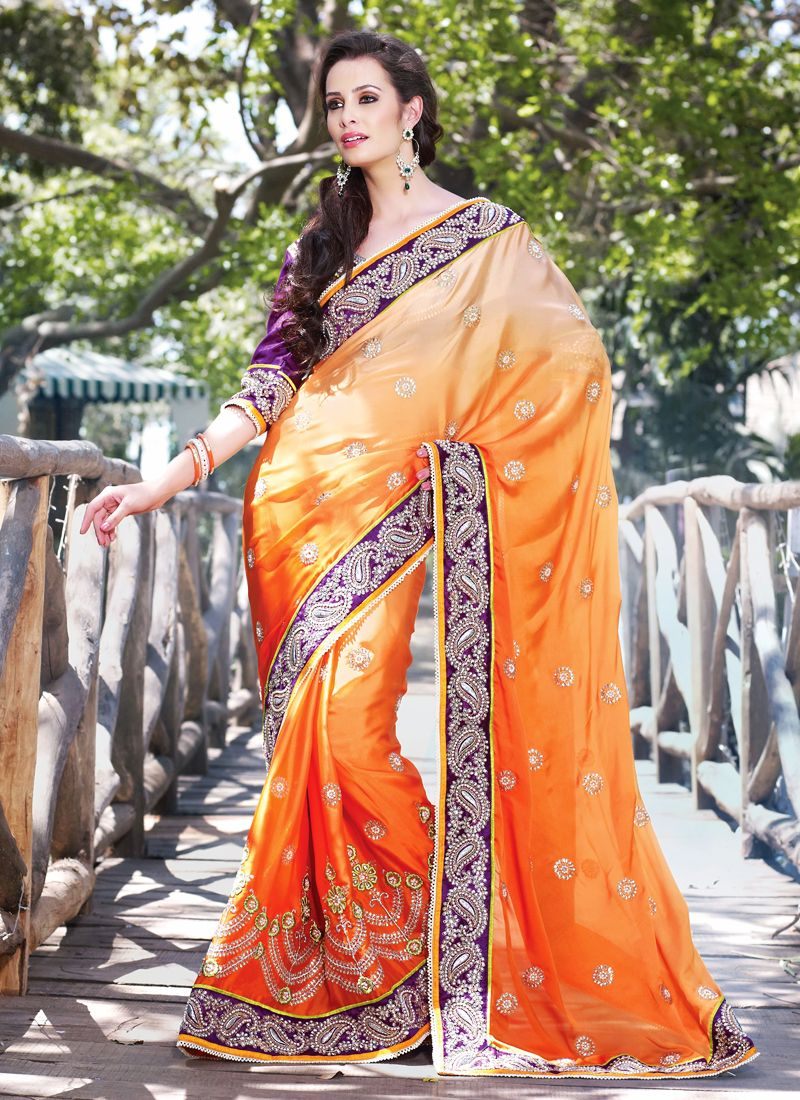 Apricot Embroidered Saree