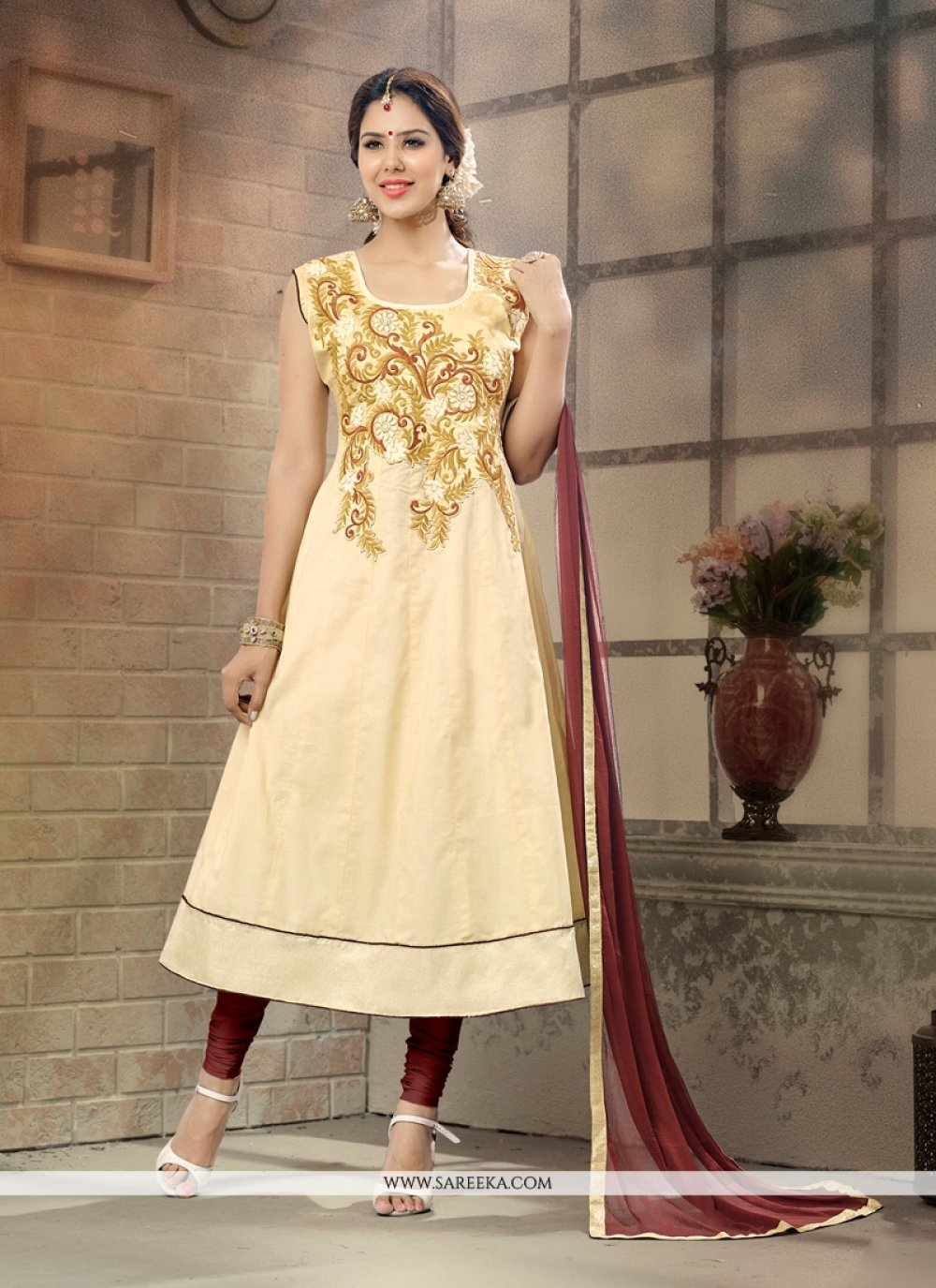 Cream Anarkali Salwar Suit