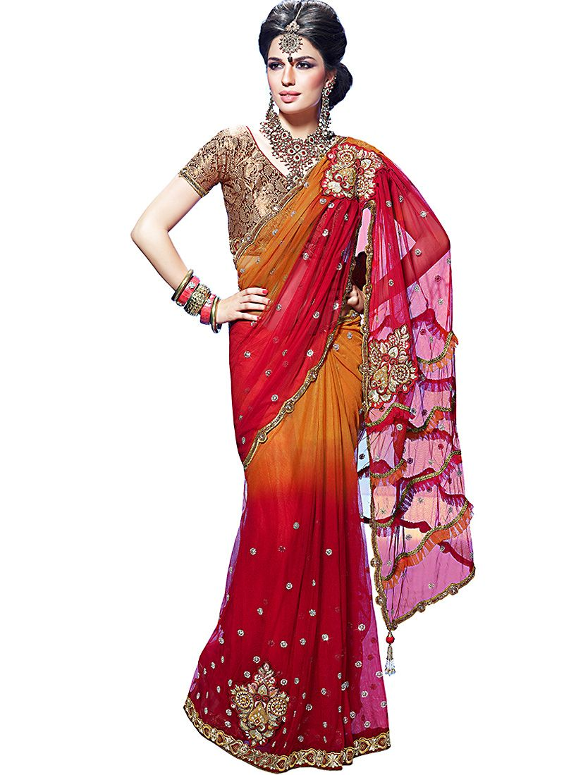Deep Orange & Fuchsia Embroidered Saree