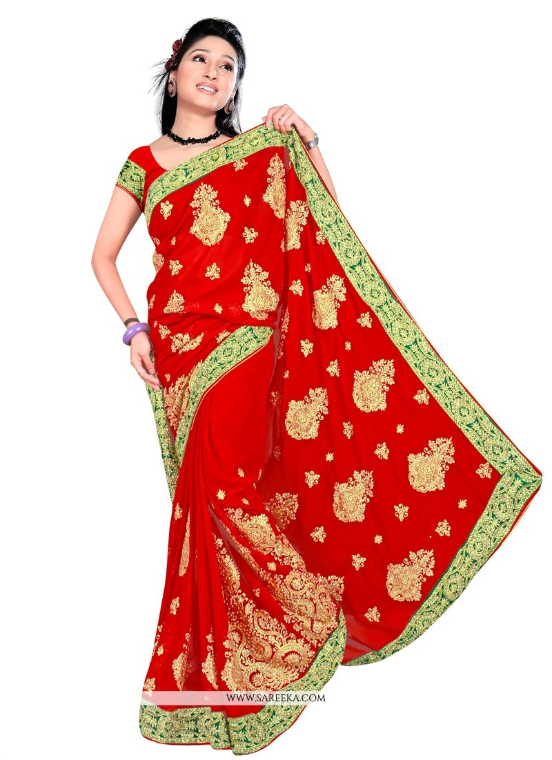 Embroidered Work Georgette Contemporary Style Saree