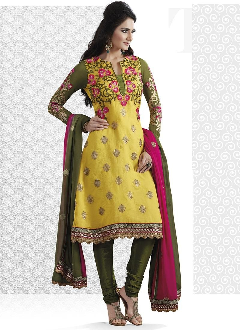 Gold Color & Pale Olive Green Salwar Kameez