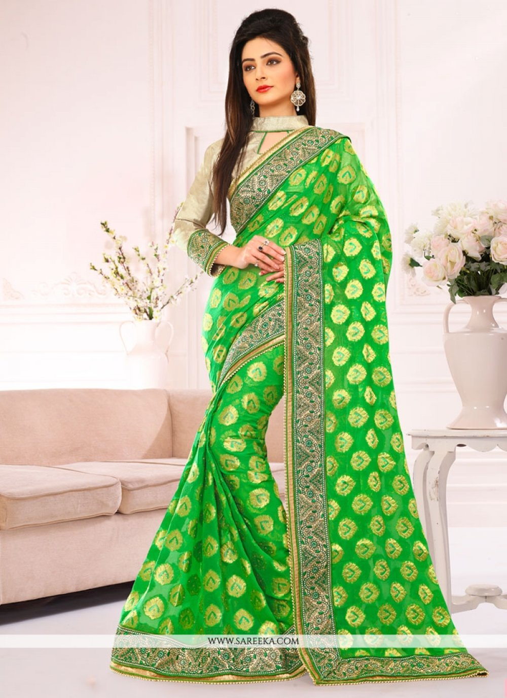 Green Embroidered Work Jacquard Designer Saree