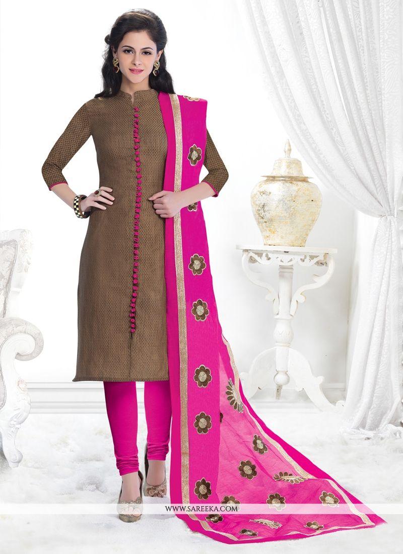 Jacquard Lace Work Churidar Salwar Kameez
