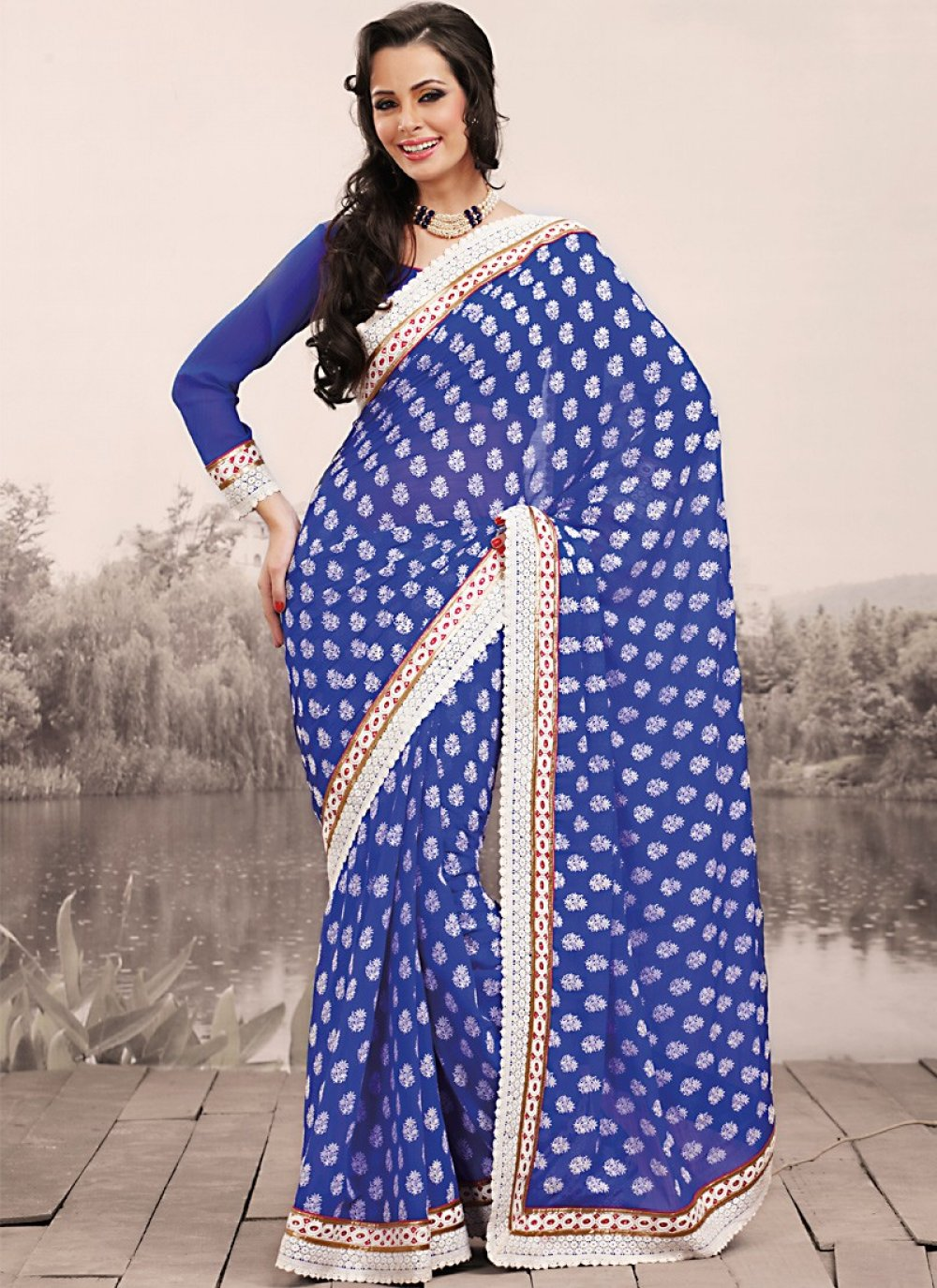 Navy Blue Embroidered Saree