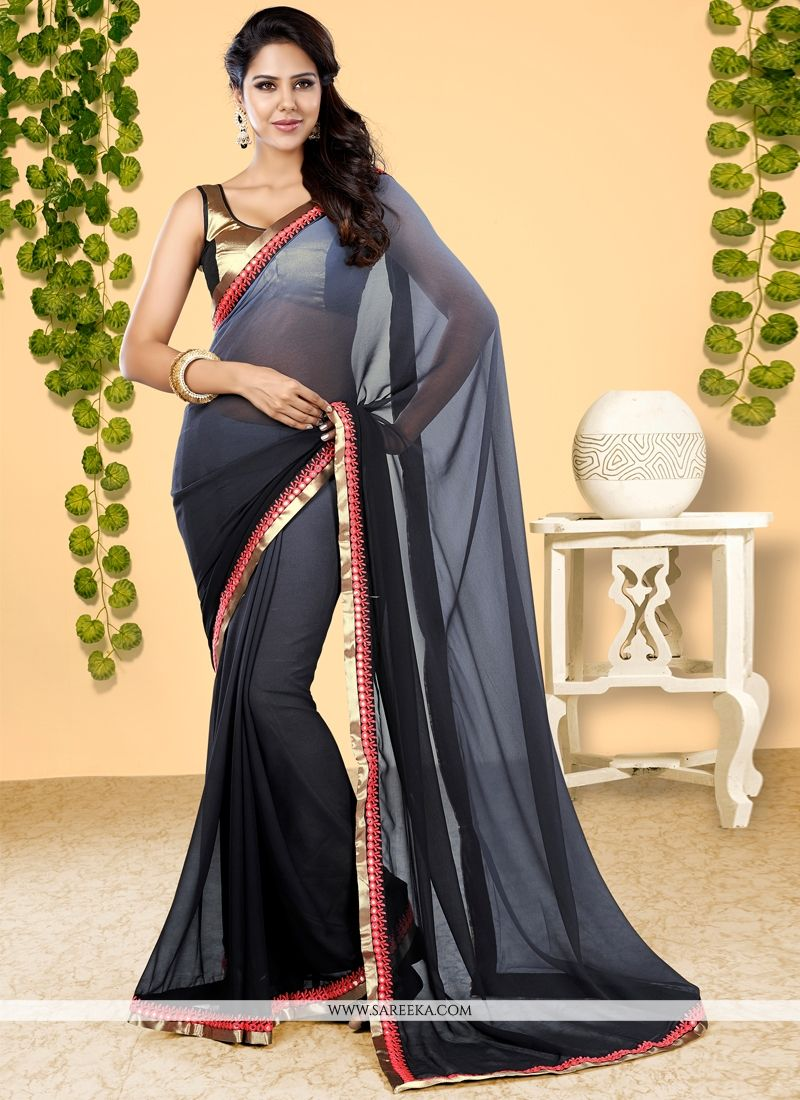 Patch Border Work Georgette Designer Half N Half saree