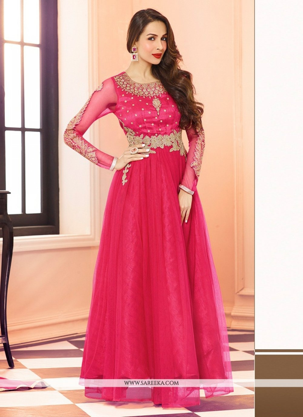 Malaika Arora Khan Embroidered Work Hot Pink Georgette Anarkali Salwar Suit
