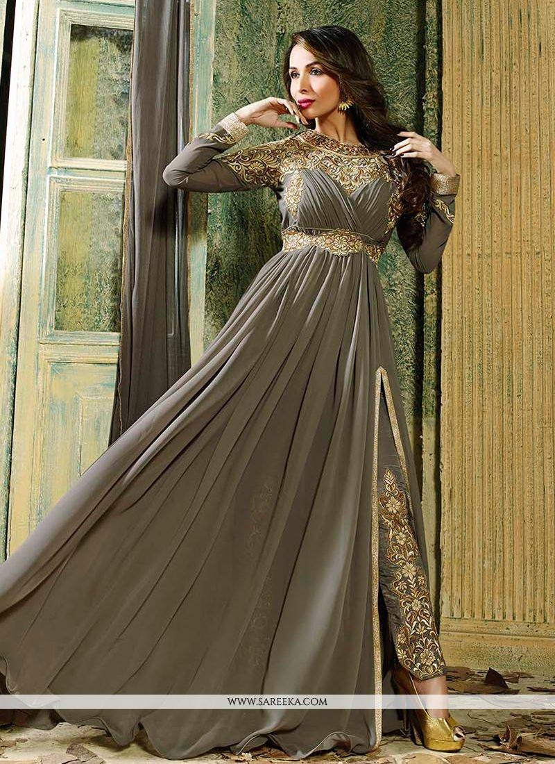 Malaika Arora Khan Grey Georgette Anarkali Suit