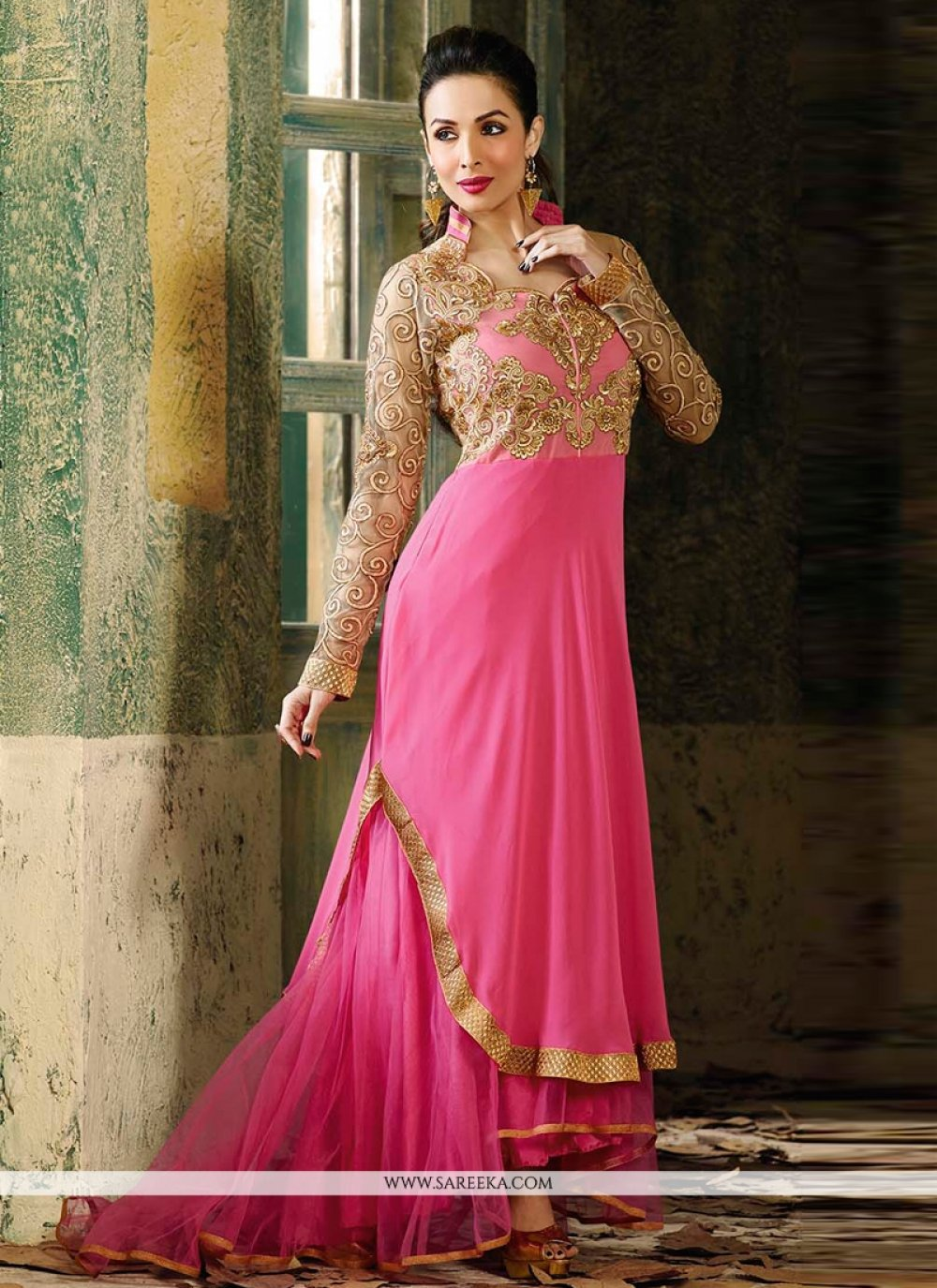 Malaika Arora Khan Pink Anarkali Suit