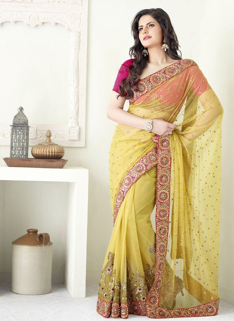 Mango Yellow Sequins Embroidered Net Saree