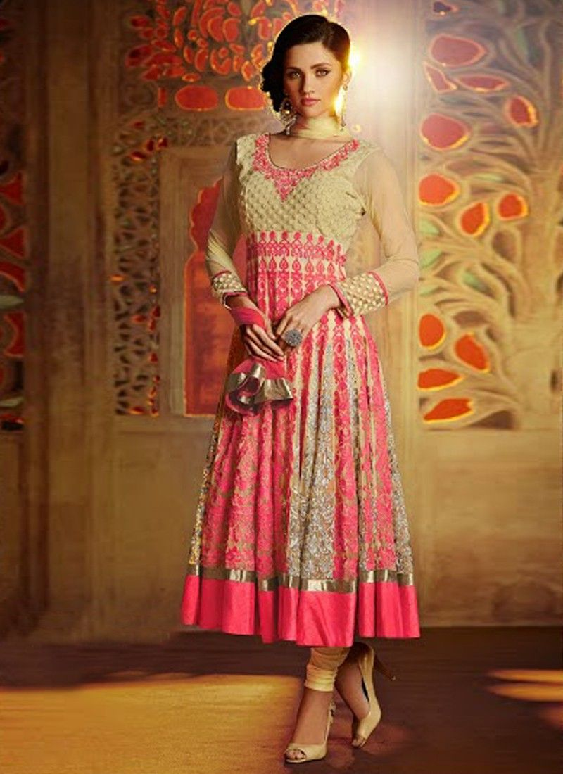 Markable Cream And Pink Resham Work Net Anarkali Suit