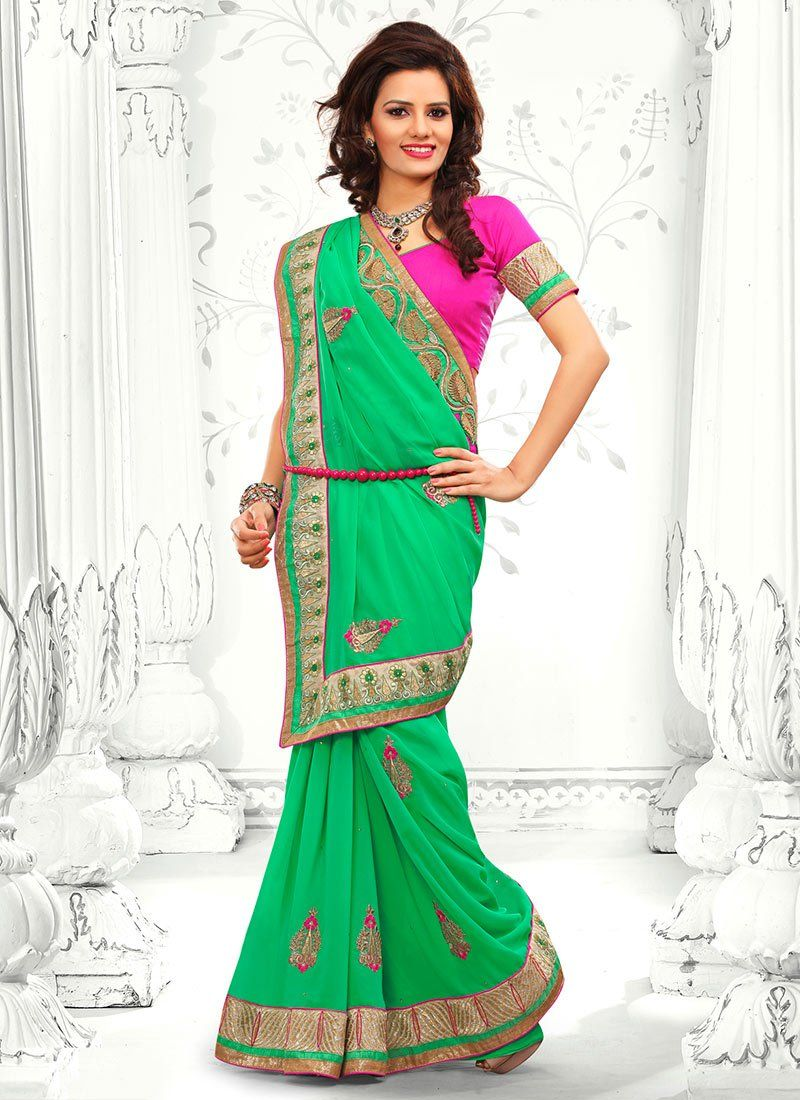 Markable Green Faux Georgette Casual Saree